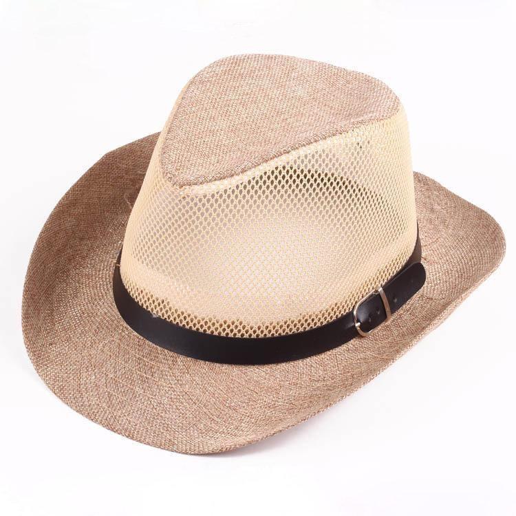 bdc0a02d0 Men Hollow Out Mesh Top Hat Wide Brim Casual Braid Fedora Beach Sun ...