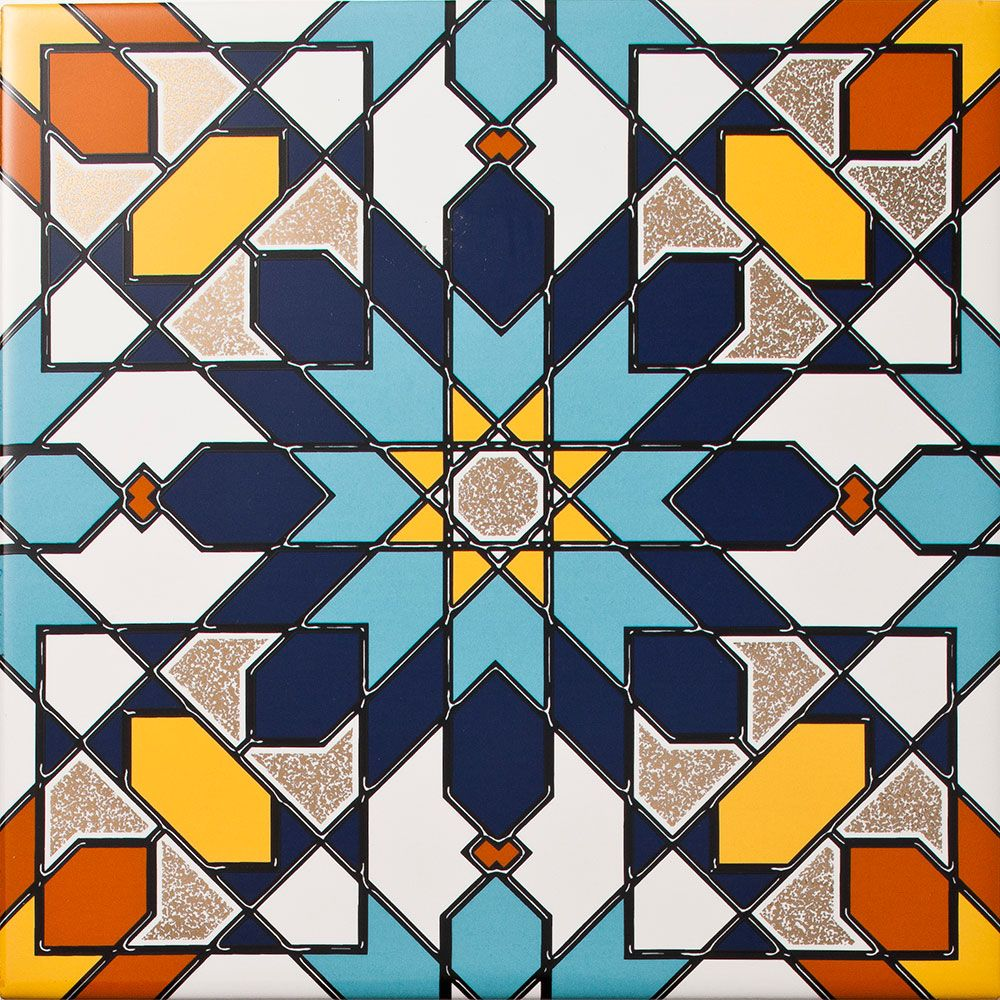 Arabesque - Almas Inset Tile. A geomtric patterned tile with a ...