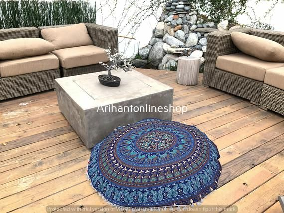 Cotton Mandala Pillow Cover Indian Handmade Large Footstool Pouffe Tapestry Cover Bohemian Round Cus