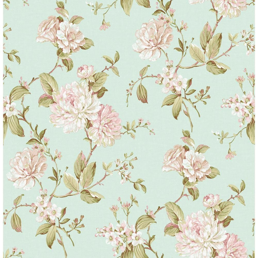 Brewster Mandir Light Blue Floral Trails Wallpaper Blue