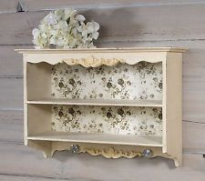 Decorative Wood Antique White Wall Shelf W Vintage Rose Shabby Chic Decor