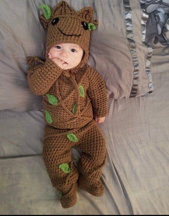 Lil gRoot inspired Halloween costume/photoprop/cosplay infant crochet