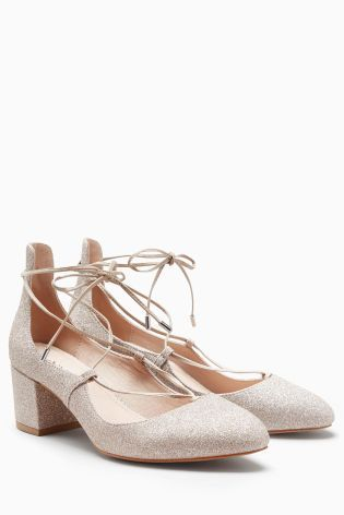 Champagne Lace Up Dolly Shoes | Lace up