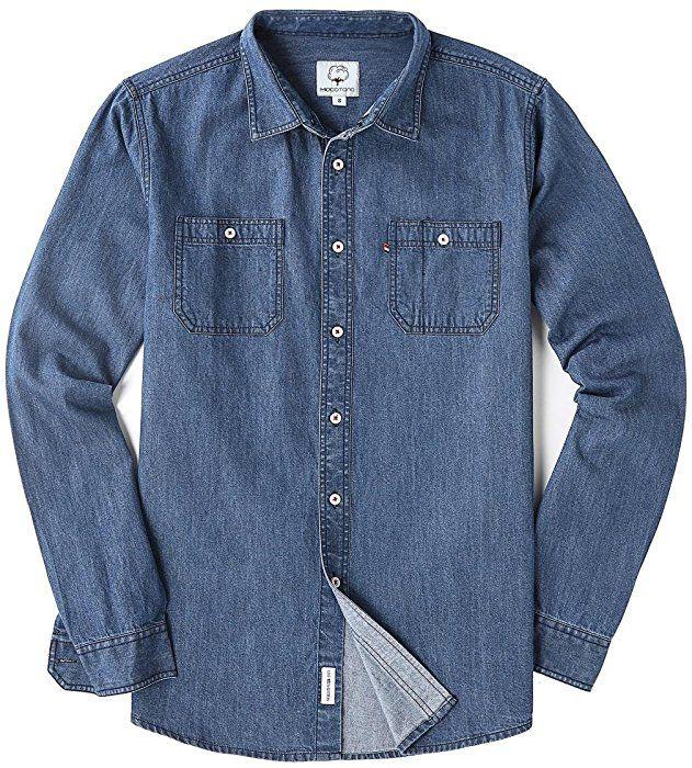 195a643f8d Amazon.com  MOCOTONO Men s Long Sleeve Denim Double-Pocket Shirt Light Blue  Small  Clothing