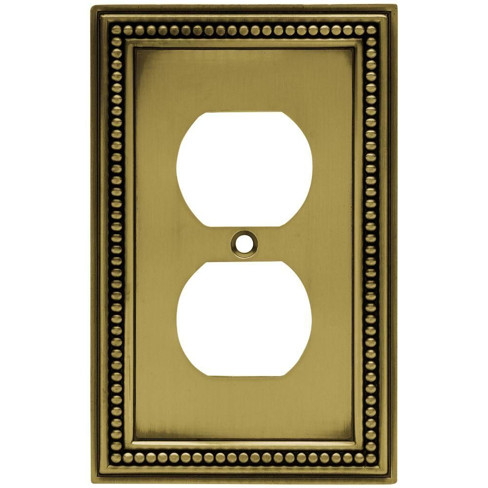 Hampton Bay Beaded Decorative Single Duplex Outlet Cover Tumbled Antique Brass W10103 Abt Uh The Home Depot Plates On Wall Switch Plate Covers Plate Covers