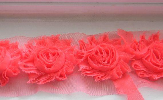 "pink 2.5"" Shabby Chiffon Flower Rose - flower by the yard trim rose (Sold by the yard) hair accessories DIY Headband craft shabby chiffon"