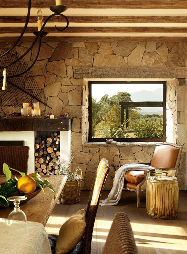 A Spanish Villa, Love The Stone Wall And Ceiling