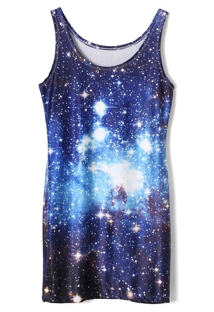 Galaxy Print Slip Silky Dress