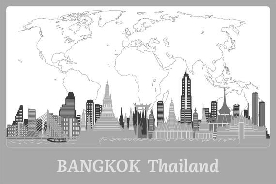 Bangkok Wooden Poster Thailand Wall Art Housewarming #bangkokposter #woodwallart #thailandwallart #bangkokwallart #bangkokdecor #thailanddecor #bangkokwoodframed #travelgift #woodwallmap #5thanniversarygift #firsthomedecor #housewarminggift #housewarmingdecor World Map
