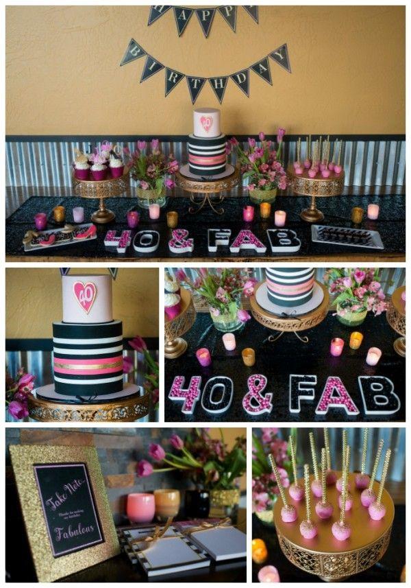 Glamorous 40th Birthday Party 40th Birthday Decorations 40th