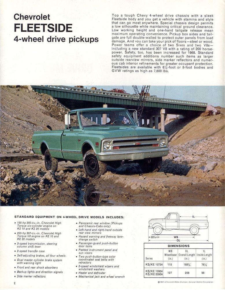 GM 1968 Chevrolet 4 Wheel Drive Chevy Truck Sales Brochure | 4 ...