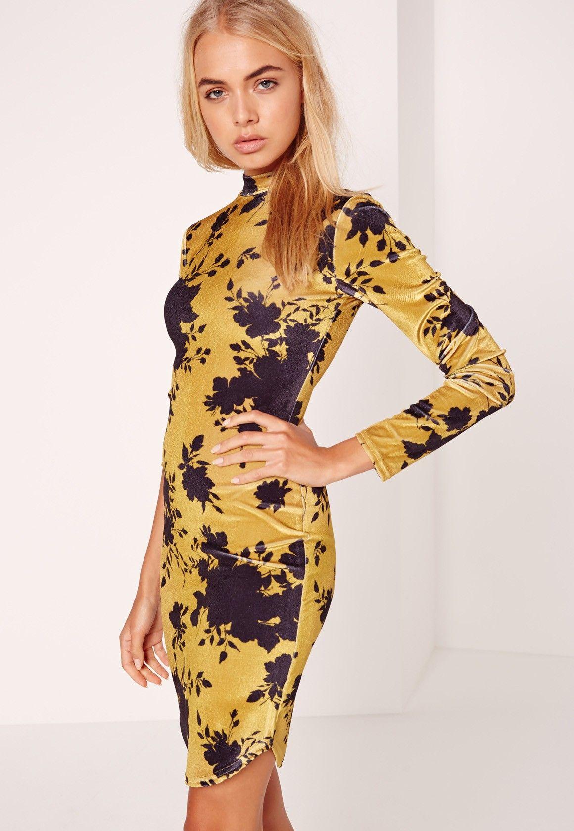 8f4fb693e87 Missguided - Long Sleeve Velvet Floral Bodycon Dress Yellow ...