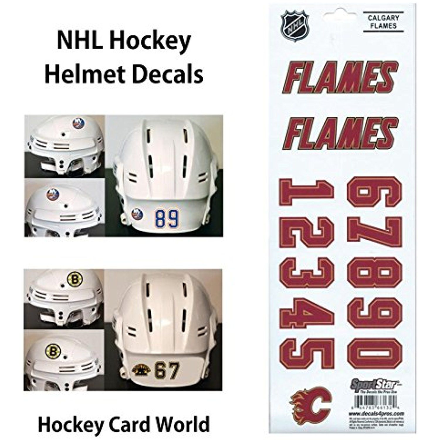 Hcw Calgary Flames Sportsstar Nhl Hockey Helmet Decals Sticker Sheet Read More Reviews Of The Product By Hockey Helmet Sports Collectibles Calgary Flames