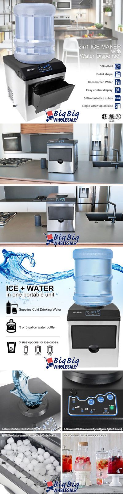 Countertop Ice Makers 122929 Portable 2 In 1 Water Dispenser W Built In Ice Maker Stainless Steel 33lbs Day Buy It Now Only 1 Ice Maker Countertops Maker