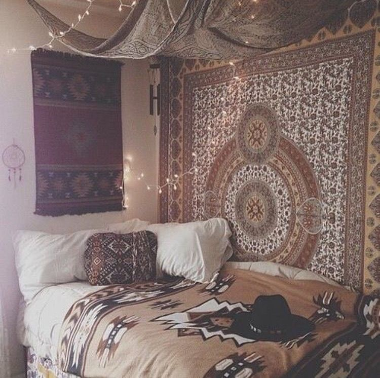 Uni room ideas tapestry wall hanging and fairy lights love the tapestries and ceiling find this pin and more on tumblr hipster boho diy room decor