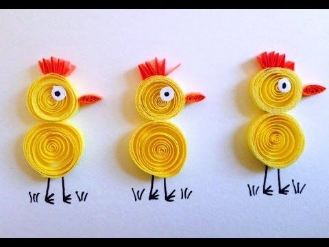 Art Craft How to make Quilled Yellow Chicks Card quilled art