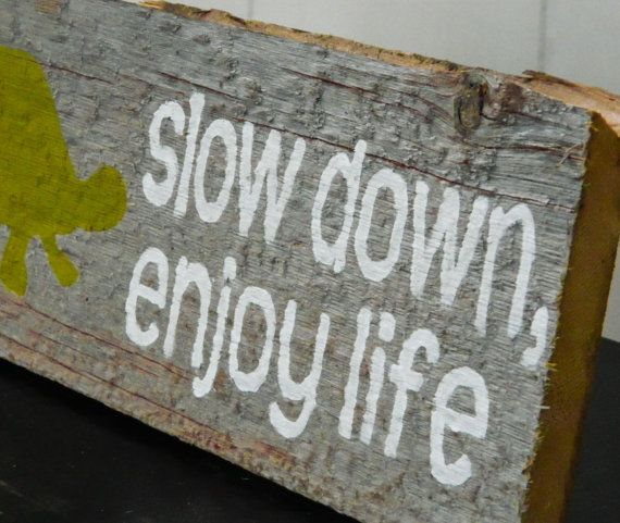 "Rustic Barnwood Wall Art Hand-Painted Wood Sign - Rustic Home Decor - Turtle Wall Art - ""Slow Down, Enjoy Life"" on Etsy, £14.10"