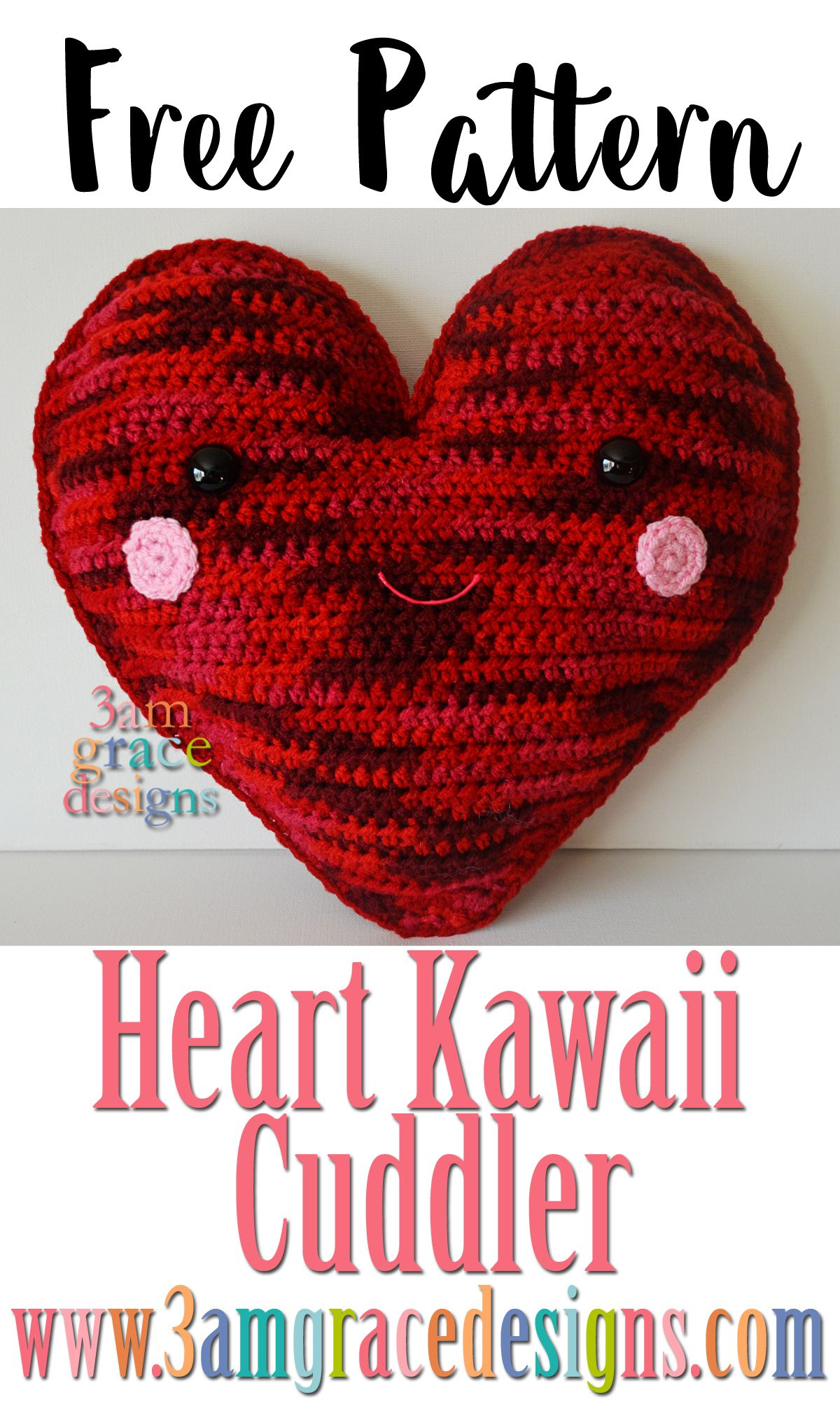Heart Kawaii Cuddler Free Crochet Pattern 3amgracedesigns