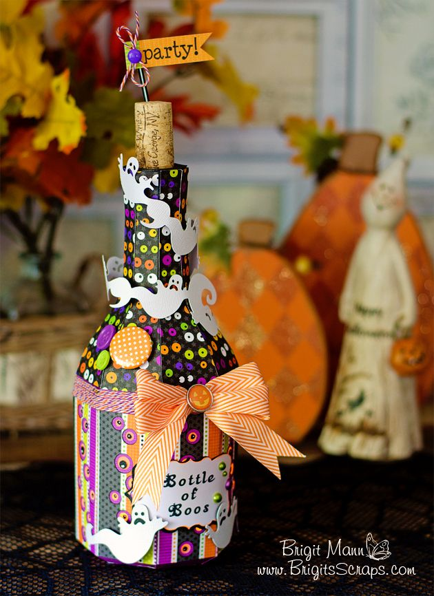 """So, what do ghosts drink after a full day of haunting? A """"Bottle of Boos!"""" (I can't take credit for this. Leo posted it with Brigit's pic. So cute!) This is hilarious and so fabulous! I think Brigit is such a wonderful designer. This is just one of the cutest ideas I've ever seen! Brigit used the Champagne Bottle from the NEW YEARS EVE SVG KIT. Hmmm, can you drink a bottle of """"boos""""!"""