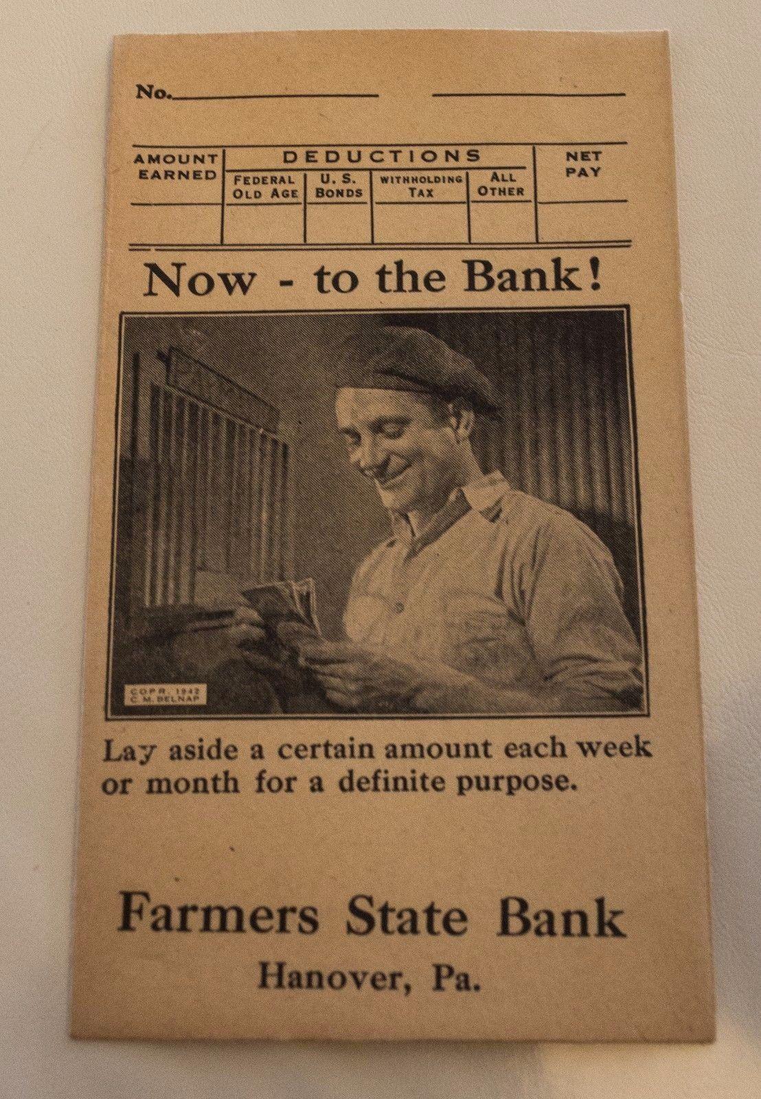 1942 FARMERS STATE BANK Deposit Envelope HANOVER PA New