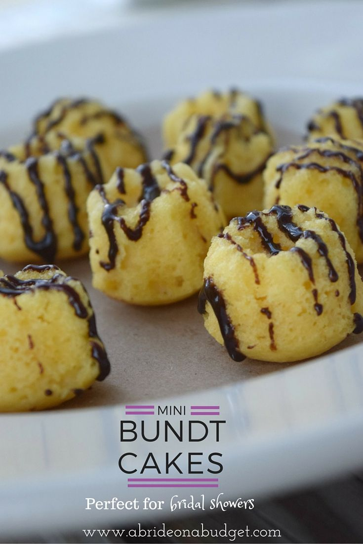 looking for a great bridal shower dessert my pick would be mini bundt cakes with a chocolate drizzle of course get the recipe and instructions on how