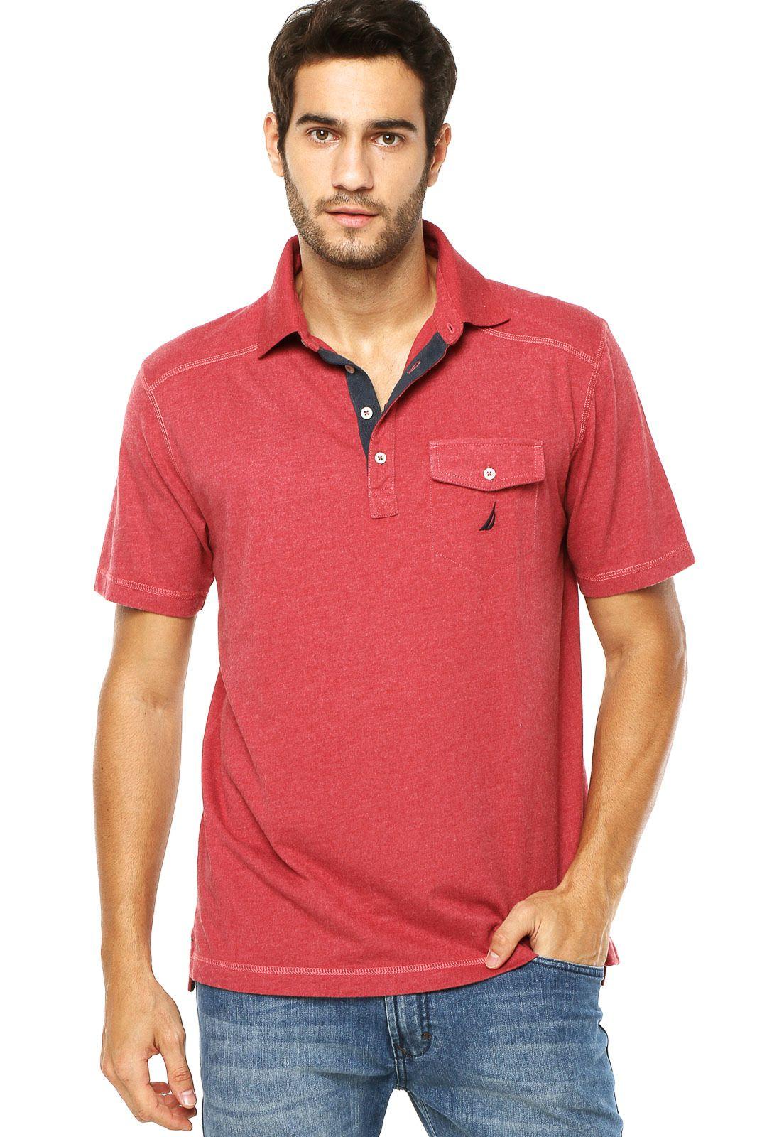 4a160f64f26a9 Camisa Polo Nautica Bolso Vermelha - Compre Agora