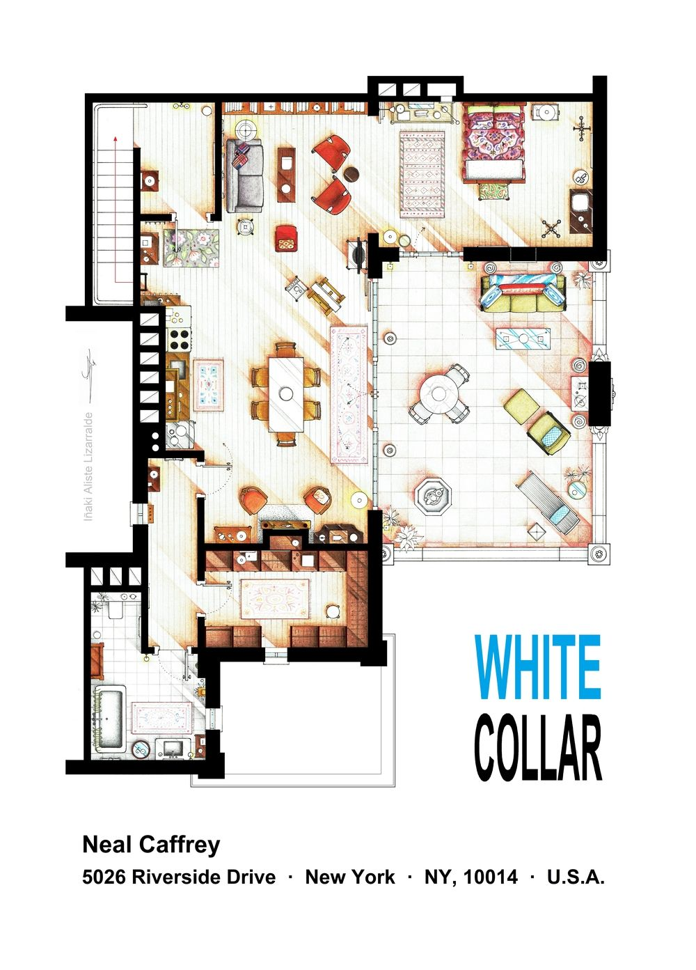 Floorplan Neal Caffrey S Apartment From White Collar This Is A