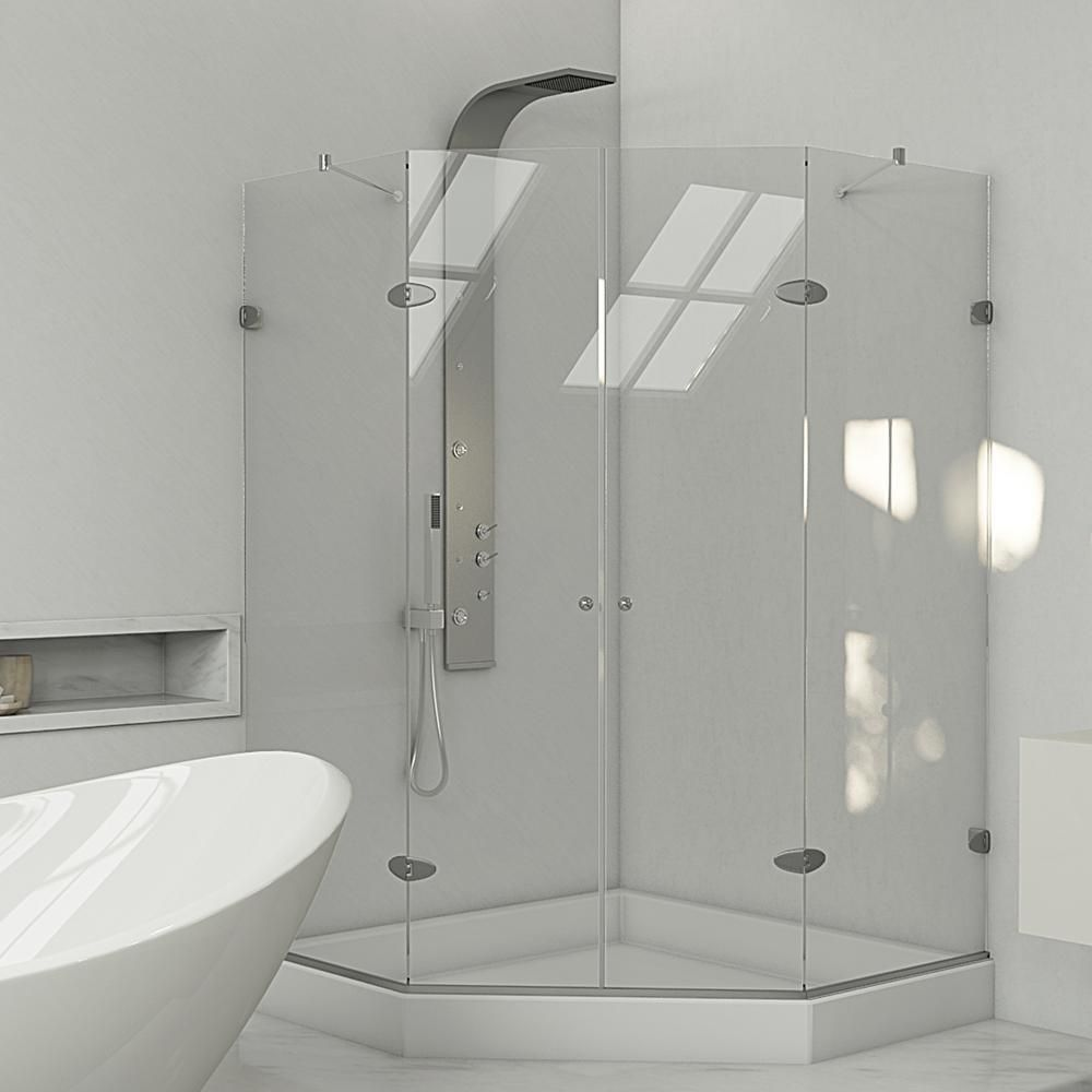 VIGO 42-Inch x 42-Inch Frameless Shower Stall in Clear with Brushed ...