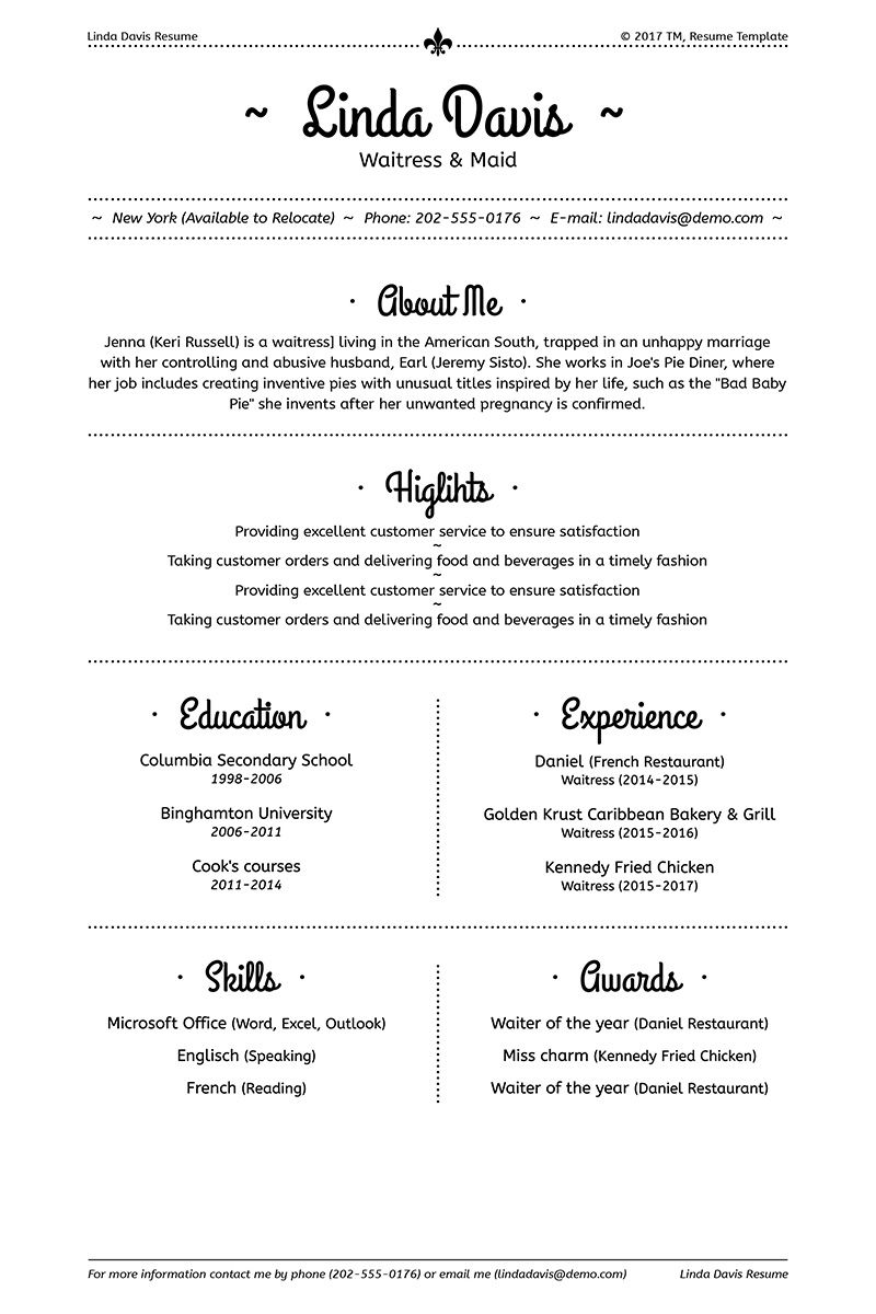 Linda Davis Waitress & Maid Resume Template 64934