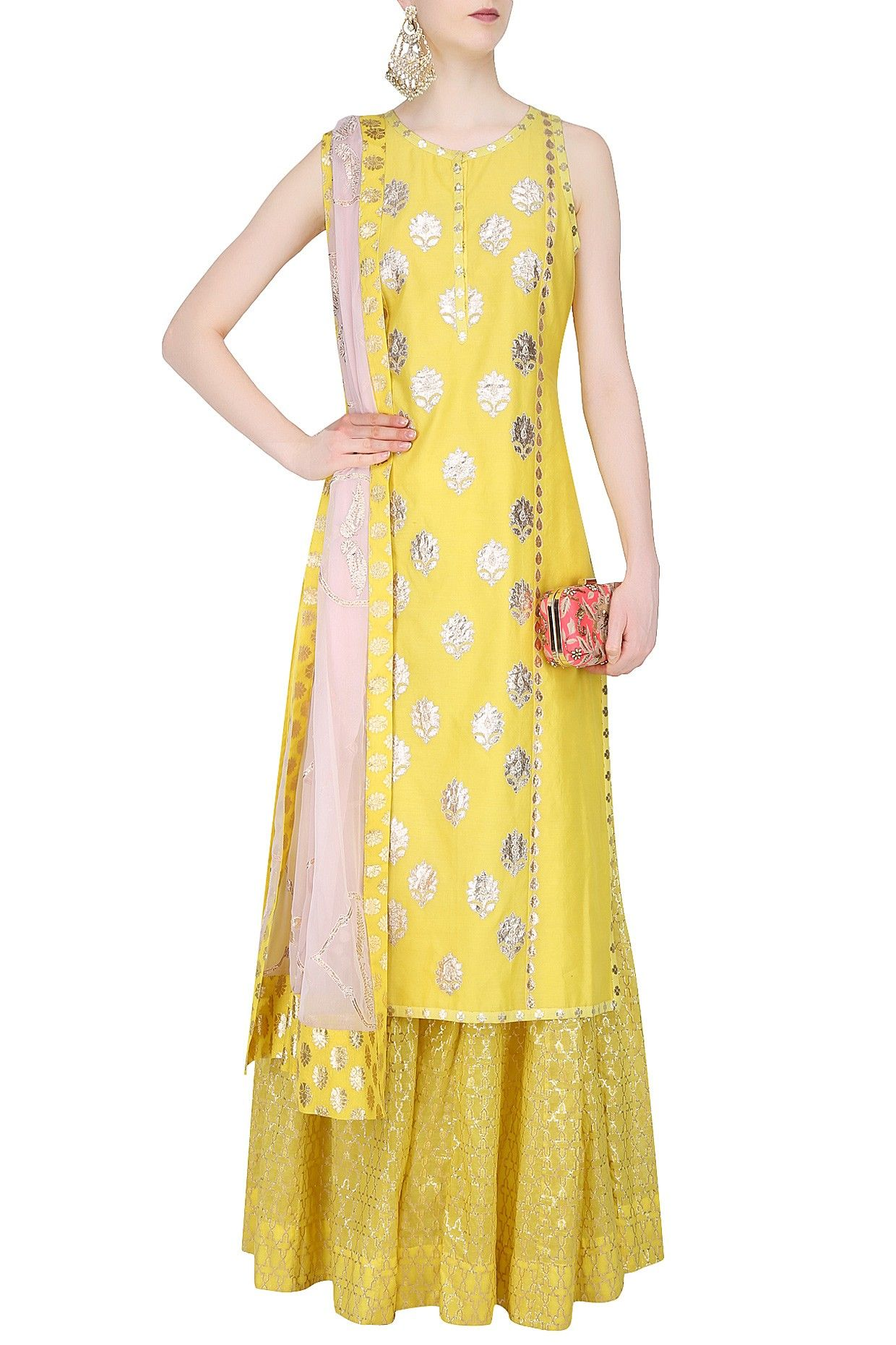 be0fc6bdfb8 Yellow and powder pink embroiderd sharara set available only at Pernia's  Pop Up Shop.