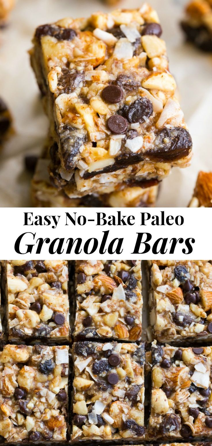 Chewy, crunchy, sweet and salty, these grain free and paleo no bake granola bars are going to become your favorite with the first bite!  They're loaded with raisins and mini chocolate chips, coconut flakes and nuts, sweetened with raw honey and packed with healthy fats.  Kid approved, gluten-free, dairy-free, grain free and addicting! #paleo #cleaneating #grainfree