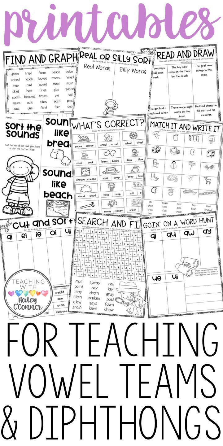 worksheet Diphthong Worksheets vowel team and diphthong printables activities teams activities