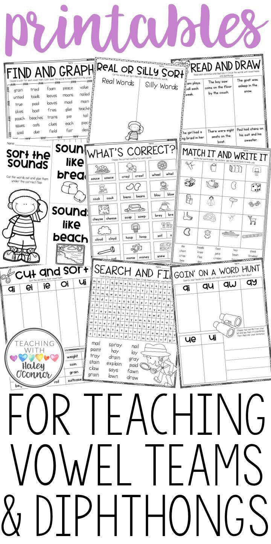 Teaching Vowel Teams And Diphthongs Teaching Vowels Vowel Team First Grade Phonics