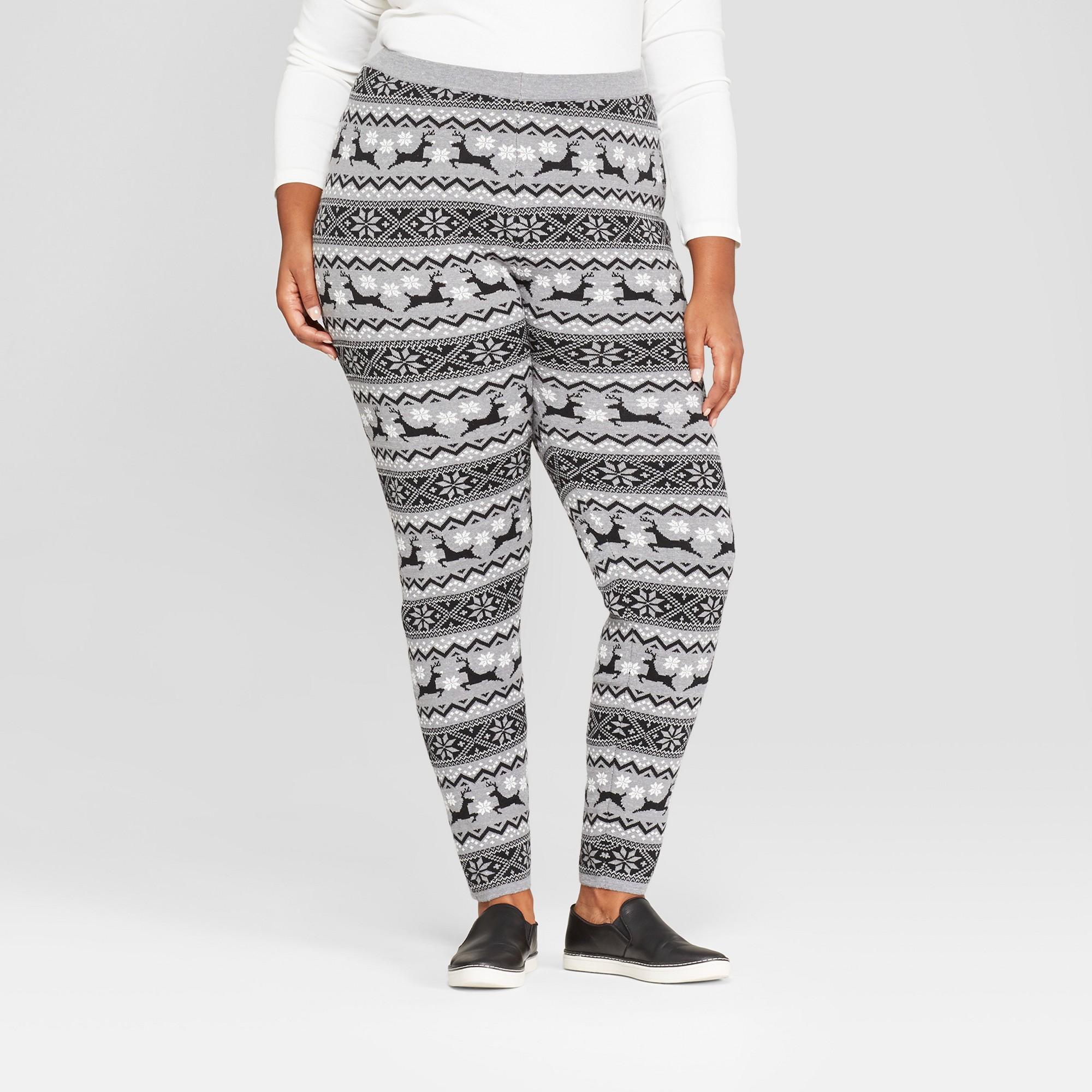 a83479a20042e Women's Plus Size Christmas Reindeer Sweater Leggings - 33 Degrees  (Juniors') Gray 2X