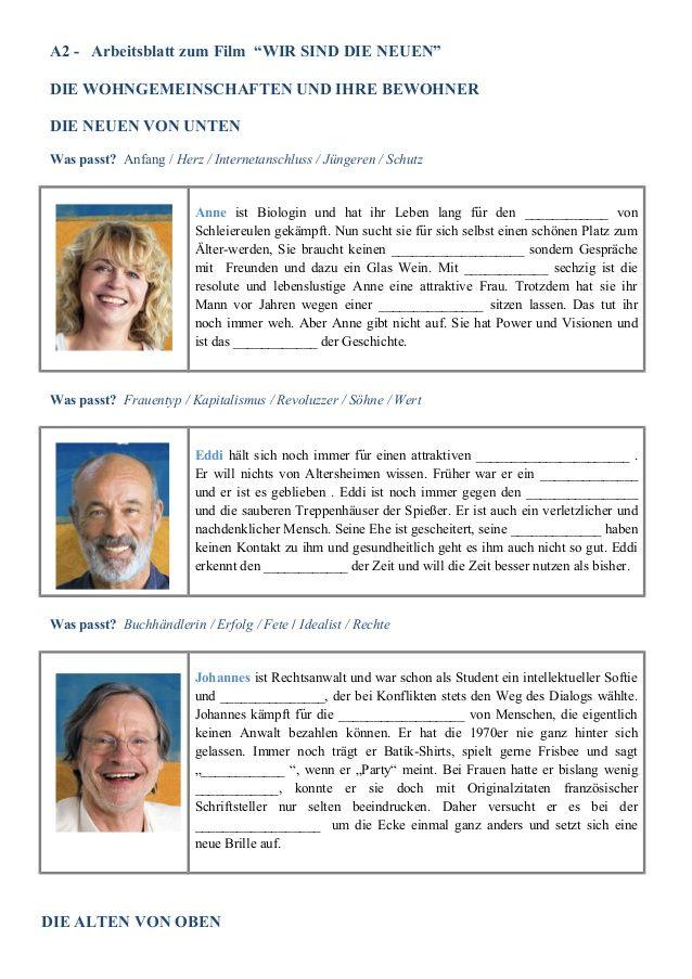 WIR SIND DIE NEUEN - A2 bis B2.2 Arbeitsblatt zum Film | DaF mit ...