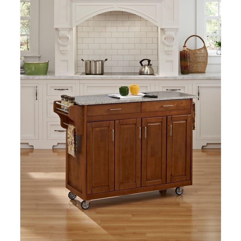 Homestyles Create A Cart Warm Oak Kitchen Cart With Salt And Pepper Granite Top 9200 1063 Kitchen Island With Granite Top Kitchen Cart White Kitchen Cart