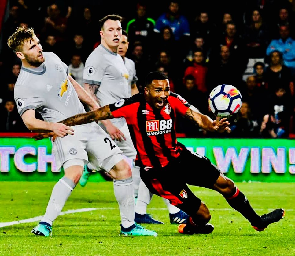Week 34 Afc Bournemouth 0 2 Manchester United Callum Wilson Luke Shaw Photo Credit Graham Hunt Prospo Afc Bournemouth Manchester United Mufc