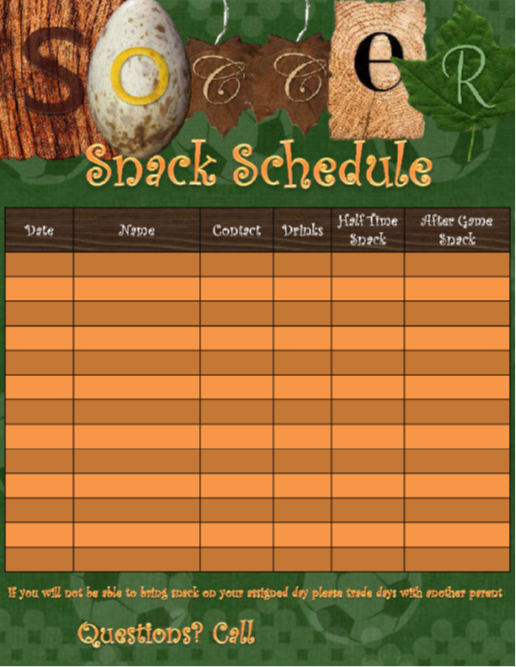 This Is A Template To Use For Soccer Snack Scheduling The One