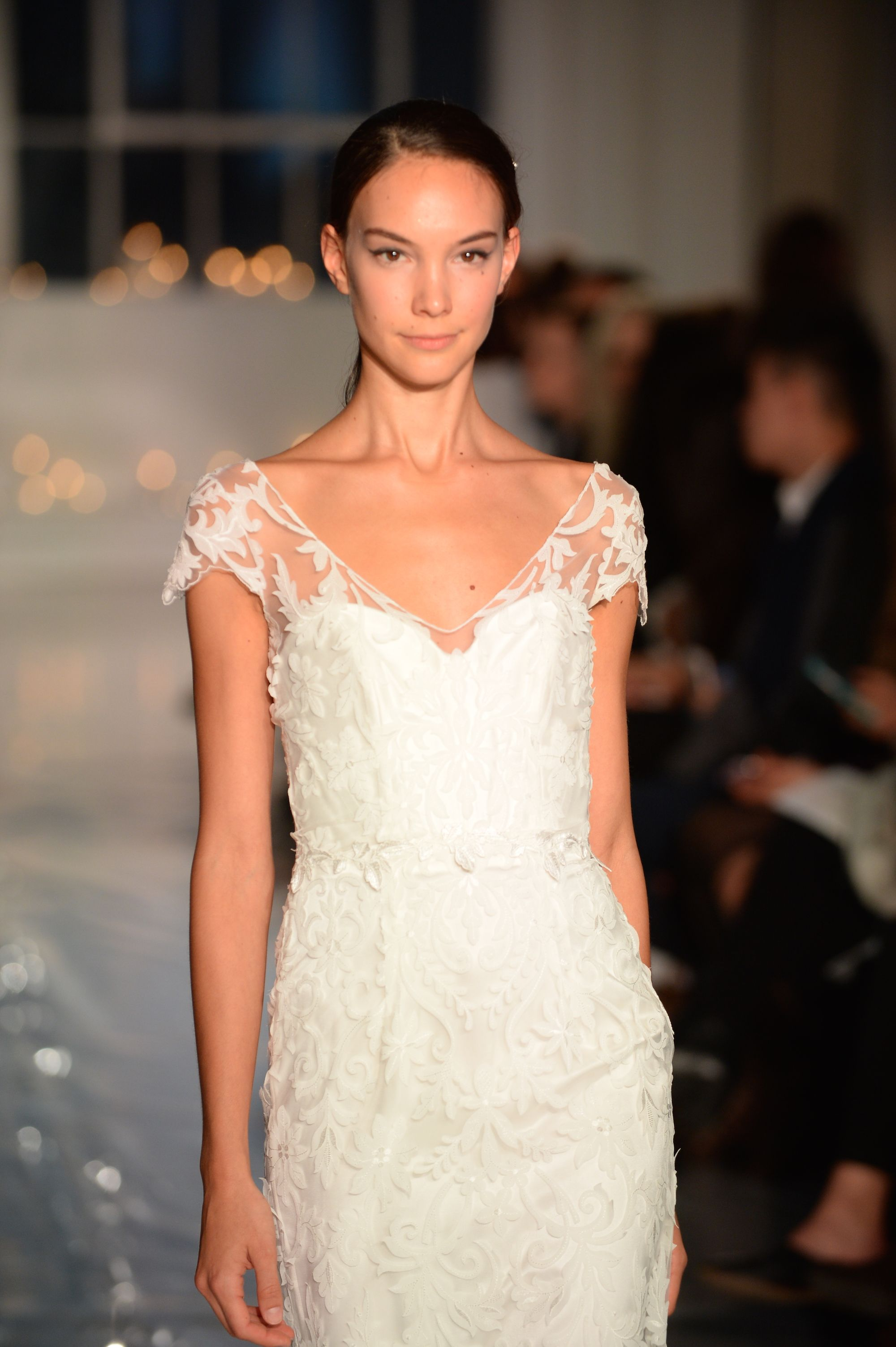 NYBW One Fine Day Runway | Anna Campbell | Windsor Dress | Laser cut botanical lace wedding dress