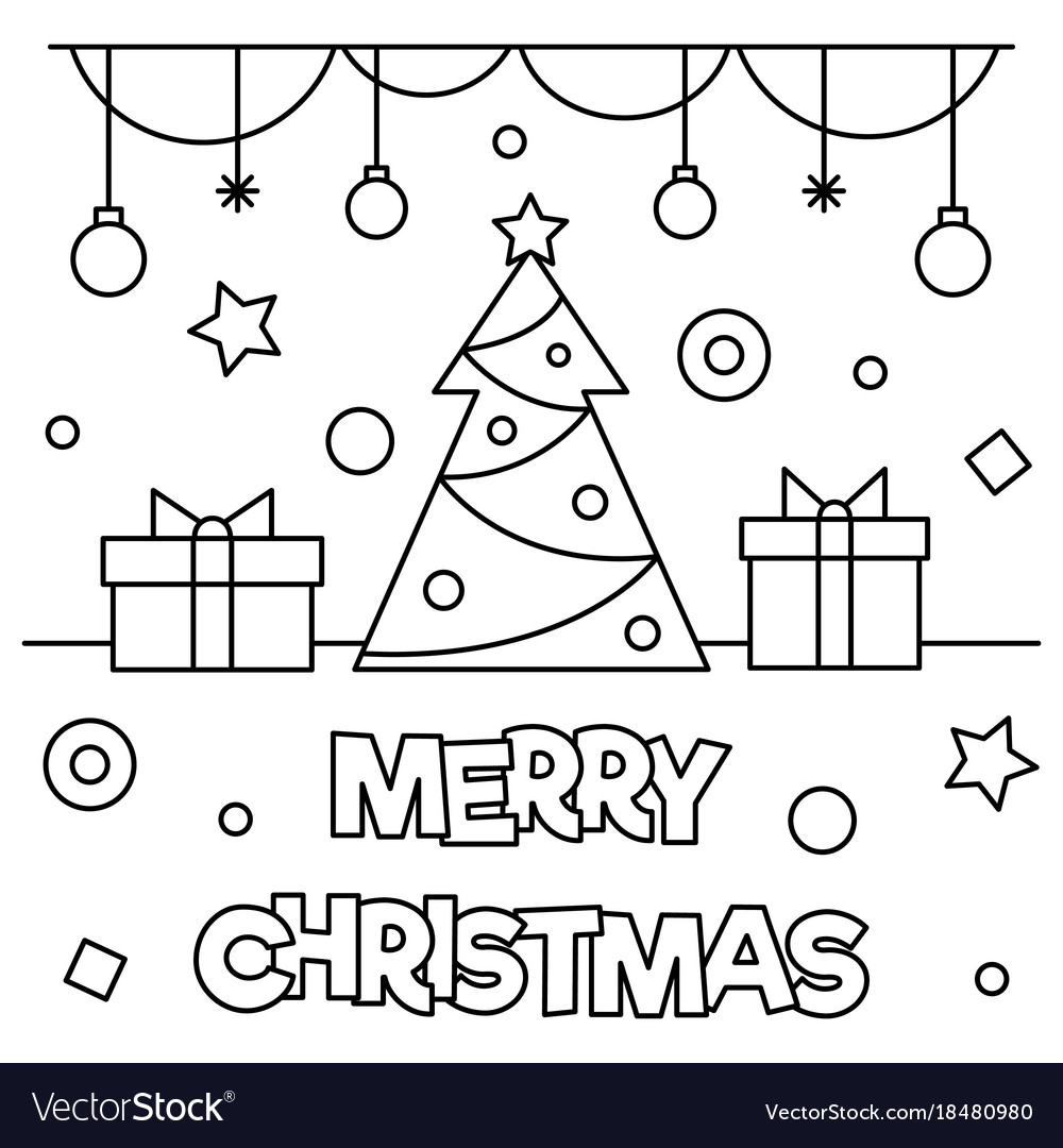 Merry christmas coloring page vector image on | Merry ...