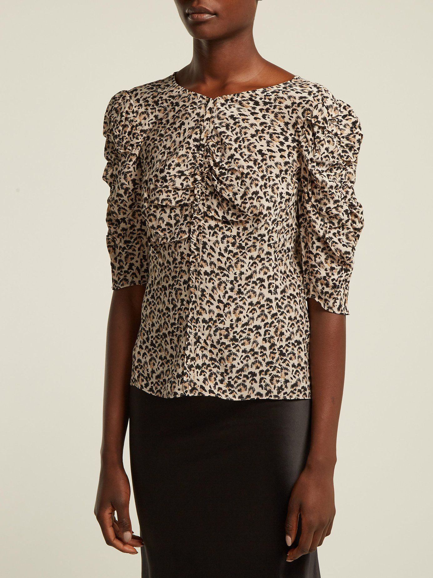 340f139d93fea8 Ruched leopard-print silk blouse | Rebecca Taylor | MATCHESFASHION.COM UK