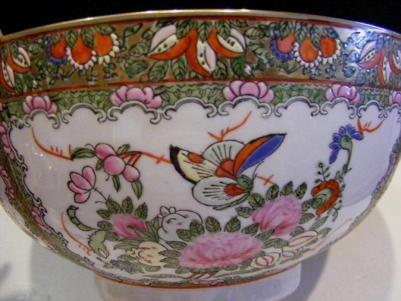 "Chinese Porcelain Chrysanthemum Gold Floral Print 9/"" Serving Plate Jingdezhen"