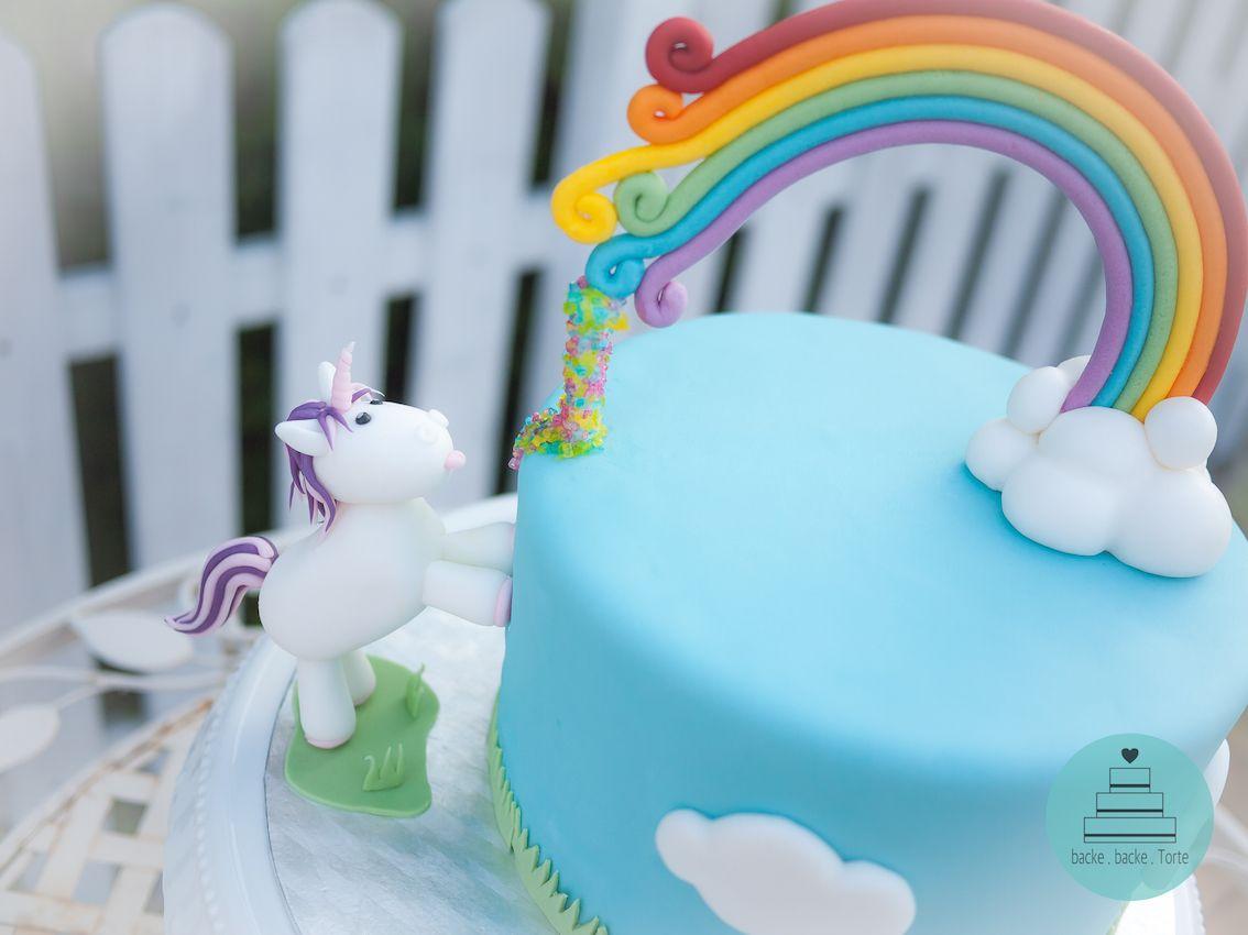 Motivtorte zum Geburtstag  Unicorn  Einhorn  Regenbogen