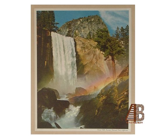 Scenic Landscape Print Vernal Falls Yosemite National Park California By Ansel Adams Color Photograph