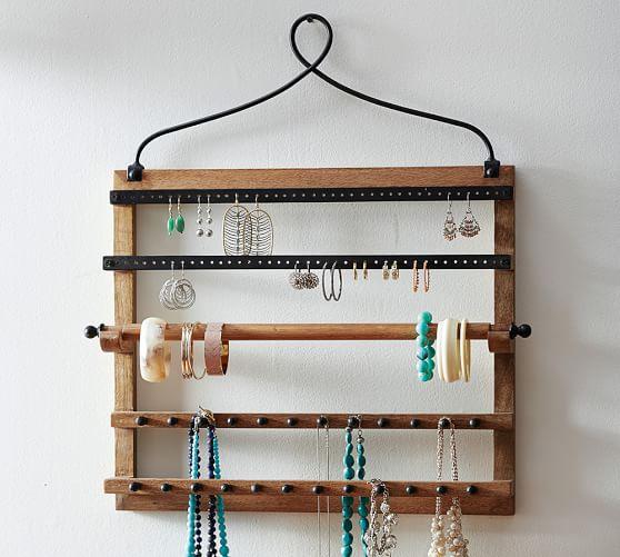 Wall-Mounted Mango Wood Jewelry Organizer