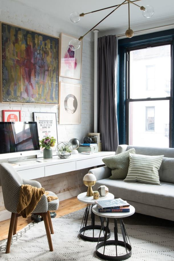 7 Ways To Fit A Workspace Into A Small Space Small Living Room Design Desk In Living Room Small Room Design