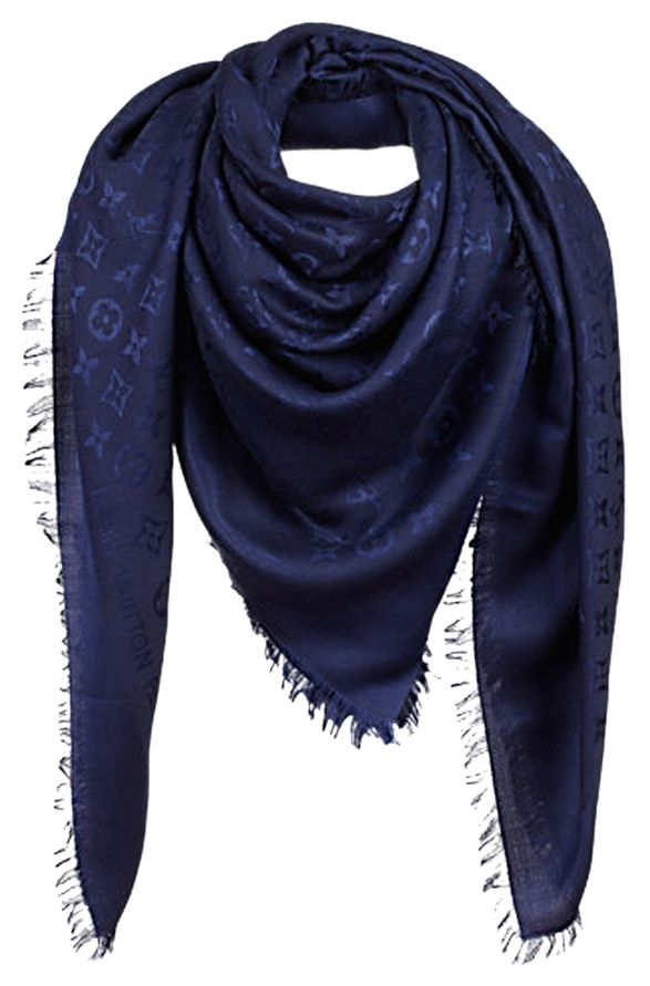 31e35807b51ef Louis Vuitton Night Blue Monogram Silk Wool Scarf Shawl M72412. Get the  lowest price on Louis Vuitton Night Blue Monogram Silk Wool Scarf Shawl  M72412 and ...