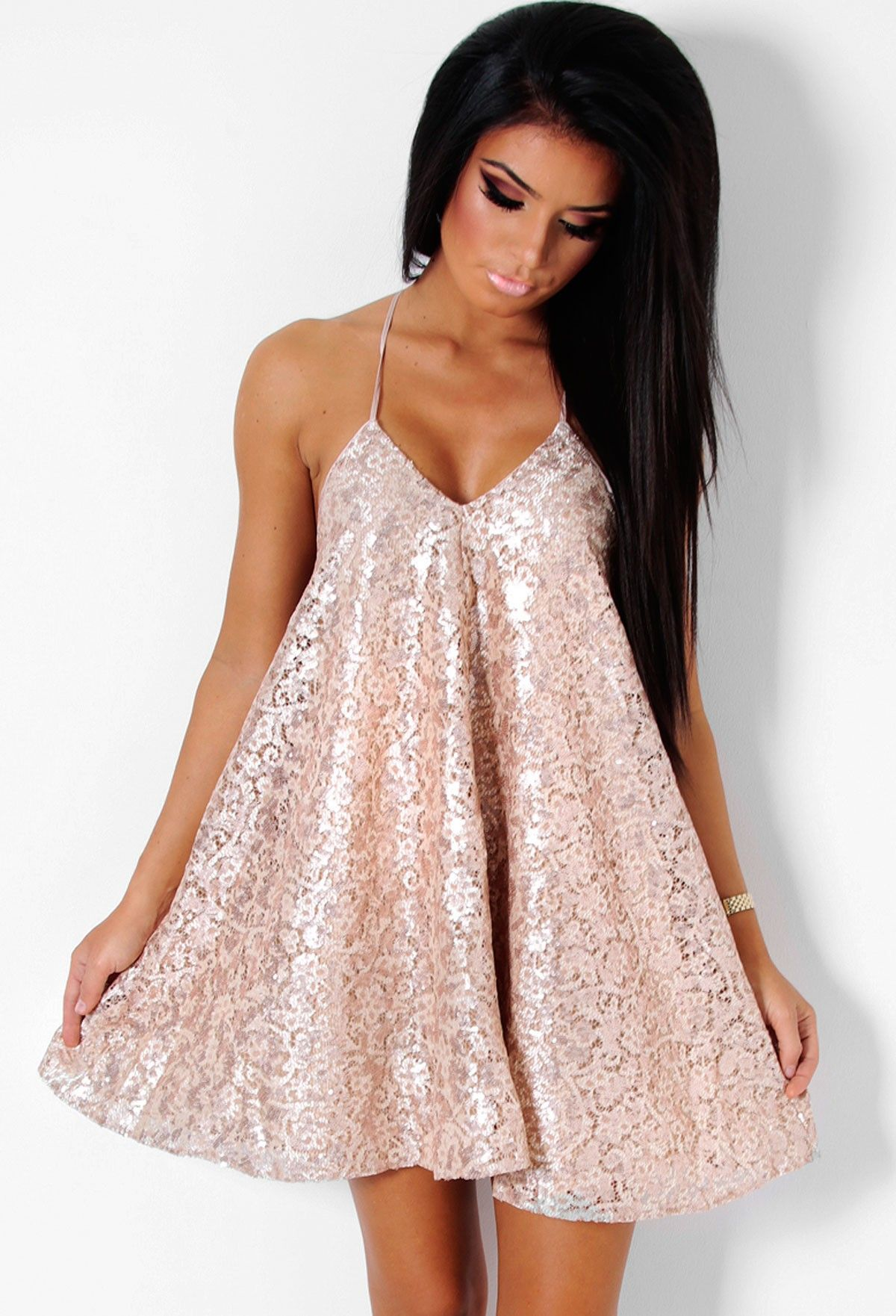 Kirsten Gold Sequin and Lace Halter Swing Dress | Sequins, Swings ...