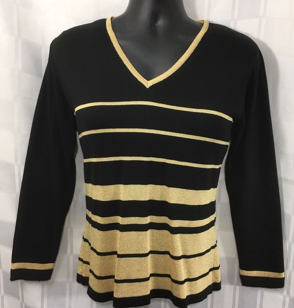 Details about Womens Black Gold Metallic Sweater Large Striped V ...