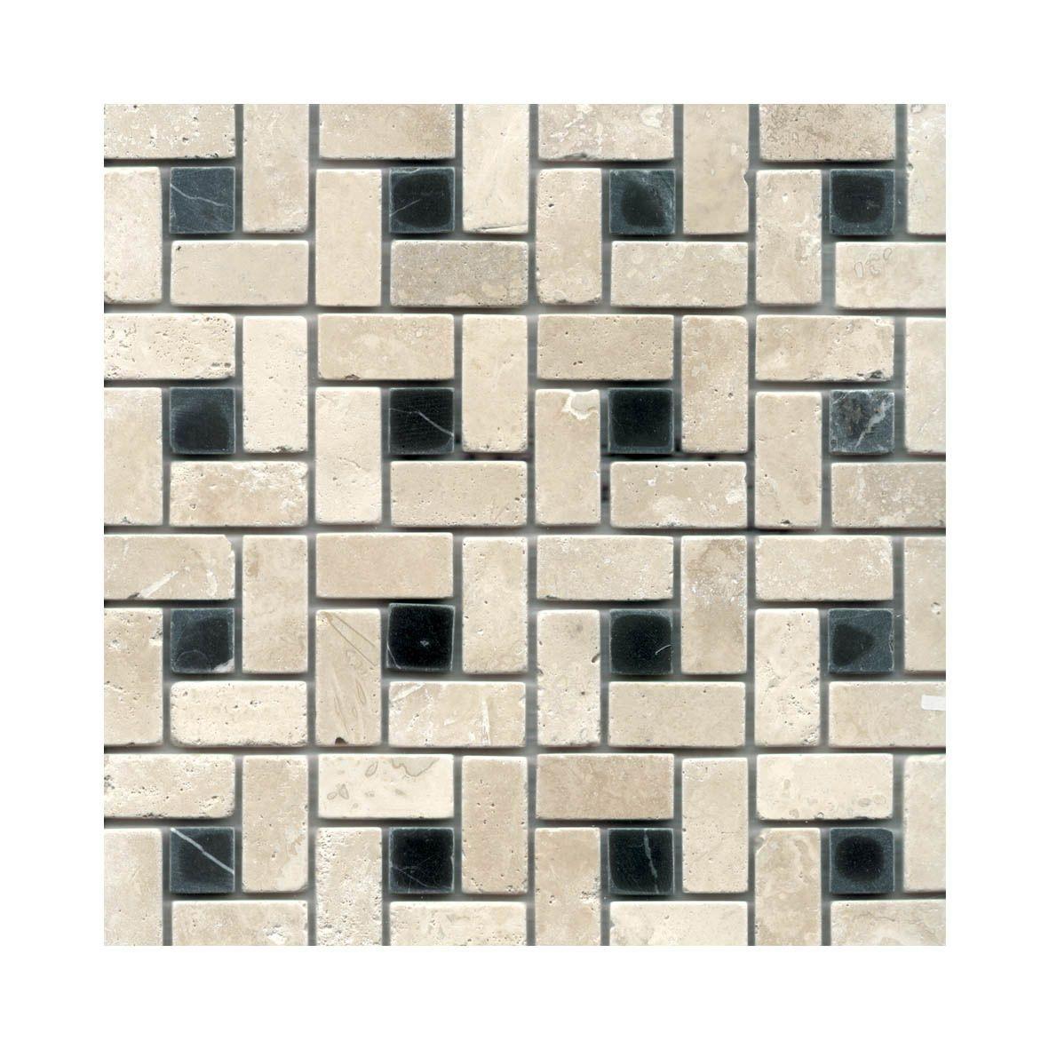Cheap Clearance Tiles | Tumbled Travertine - White/Thoros Black Dot ...